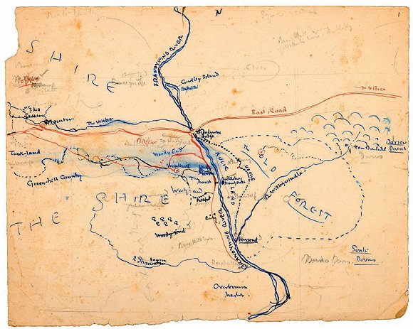 托尔金亲手绘制了中土世界地图