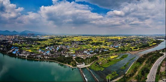 乐山太阳岛全景航拍图